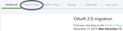OAuth 2.0 Keys tab