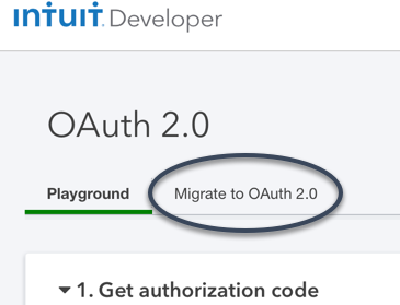 Migrate to OAuth 2.0 tab