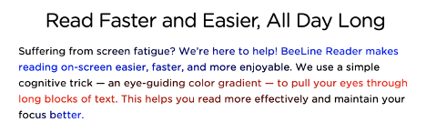 Beeline Reader text changes color within a paragraph to increase readability. A line may start black and end blue. The next line starts blue and becomes black