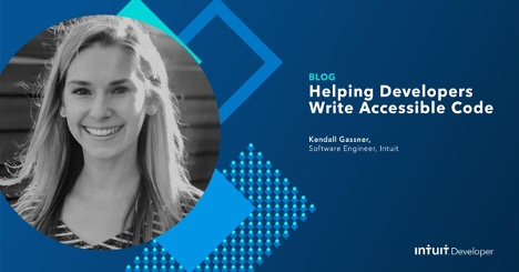 Blog author Kendall Gassner's headshot next to the blog title, Helping Developers Write Accessible Code.